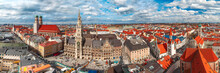 Aerial Panoramic View Of Frauenkirche, Marienplatz Town Hall And Old Town Hall In Munich, Bavaria, Germany