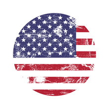 USA American Grunge Rubber Stamp With USA Flag, Isolated On White Background, Vector Illustration.