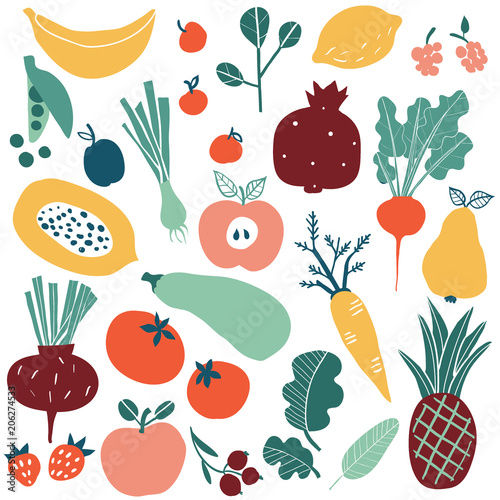 Cadres-photo bureau Cuisine Set with hand drawn colorful doodle fruits and vegetables. Sketch style big vector collection. Flat icons set: berries, cucumber, carrot, onion, tomato, apple, pineapple, lemon.