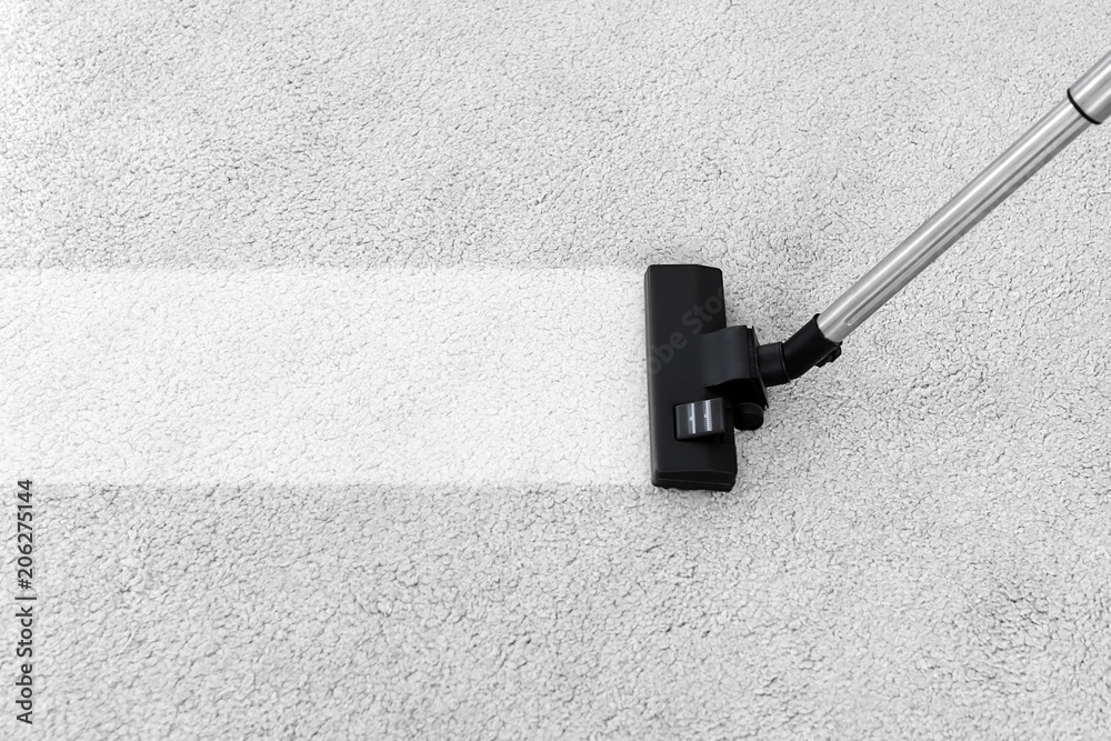 Fototapety, obrazy: Removing dirt from soft carpet with vacuum cleaner indoors
