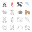 Rhino, koala, panther, hedgehog.Animal set collection icons in cartoon,outline style vector symbol stock illustration web.