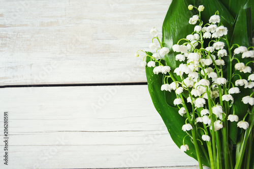 Poster Muguet de mai lilly of the valley flowers on wooden surface