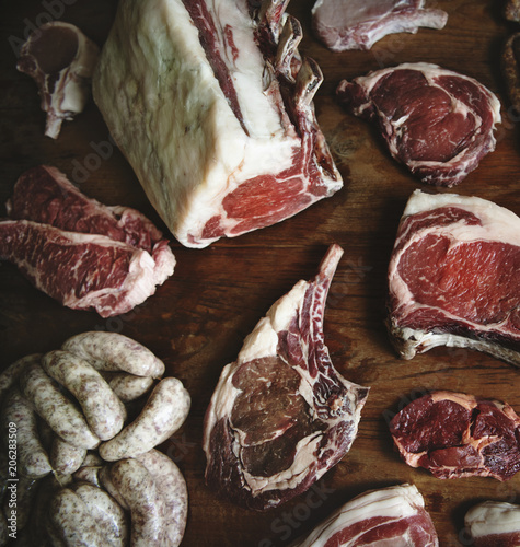 Fotobehang Wintersporten Cuts of beef food photography recipe idea