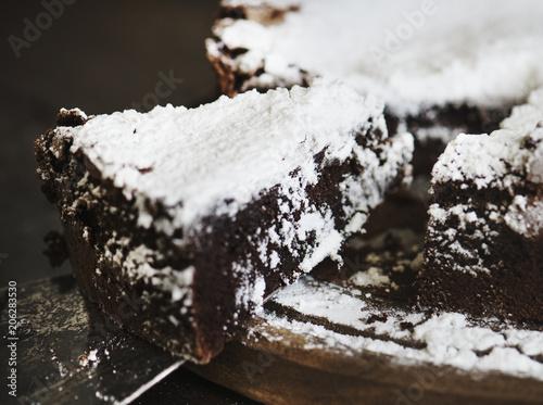 Fotobehang Wintersporten Chocolate cake food photography recipe idea