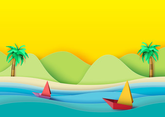 Fototapeta samoprzylepna Summer concept.Sailboats on the sea with coconut trees,beach and mountains background.Paper art style vector illustration.