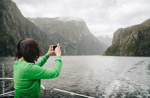 Staande foto Oceanië Tourist travel in Milford Sound, New Zealand's most spectacular natural attraction in south island of New Zealand.