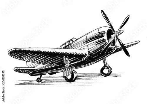 Fotografía  Vintage military plane. Ink black and white illustration