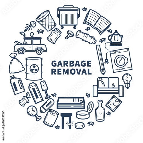 Cuadros en Lienzo Garbage removal promo monochrome emblem with rubbish in circle