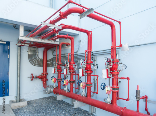 Obraz Water sprinkler and fire alarm system, water sprinkler control system and pipelines of industrial. - fototapety do salonu