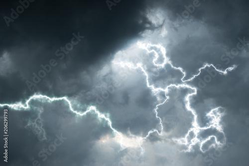 Printed kitchen splashbacks Storm rain clouds with lightening