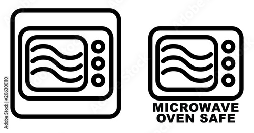 Microwave Safe Container Icon Simple Black Lines Oven Drawing With