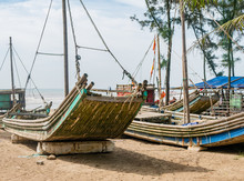 Bamboo Fishing Boats In Vietnam