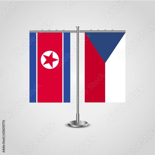 Table stand with flags of North Korea and Czech Republic Poster