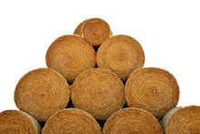 Round Hay Bales Isolated On A White Background.