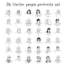 Happy Adult People Faces Icons Set Black And White