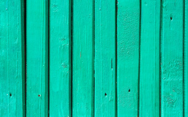 Shabby Narrow Plank Wood Fence Background. Pastel Turquoise Aquamarine Color. Surface Texture with Details Nails Holes. Rustic Style. Seamless Pattern. Wallpaper Backdrop Template