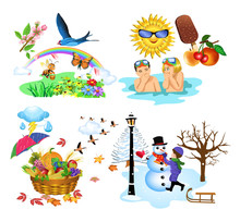 Vector Illustration Of The Four Seasons Of The Year