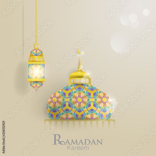 illustrations of ramadan with domes of mosques and lantern  for