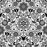 Seamless folk art vector pattern with birds and flowers, Scandinavian black and white repetitive floral design - 206313737