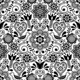 Bezszwowe sztuki ludowej wektor wzór z ptakami i kwiatami, skandynawski czarno-biały powtarzalny kwiatowy wzór - 206313737