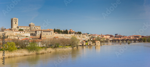 Panorama of the river Duero and Zamora, Spain