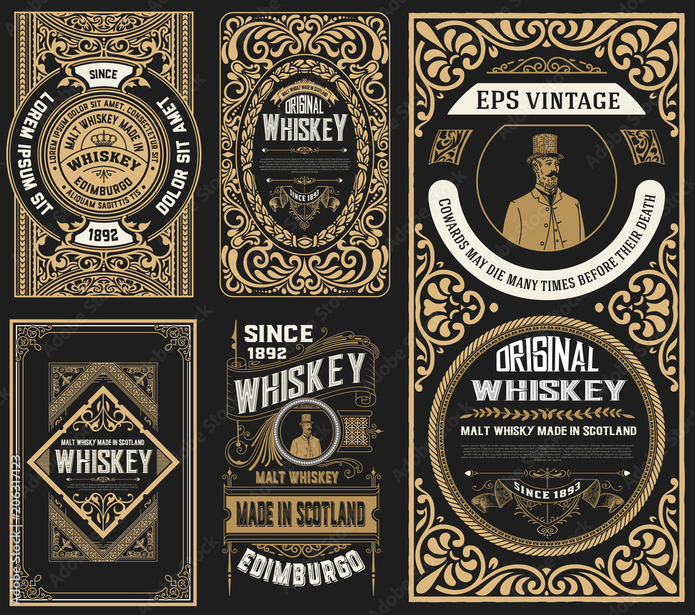 Fototapety, obrazy: Set of 5 old labels. Western style