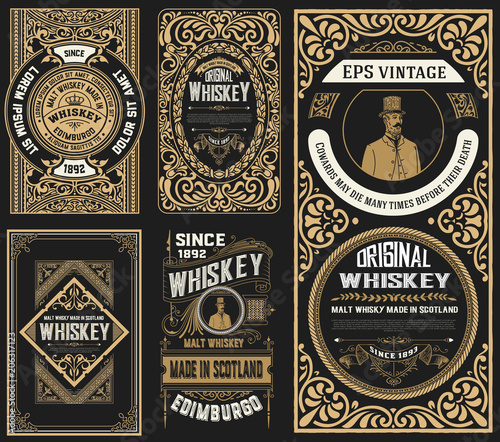Photo  Set of 5 old labels. Western style