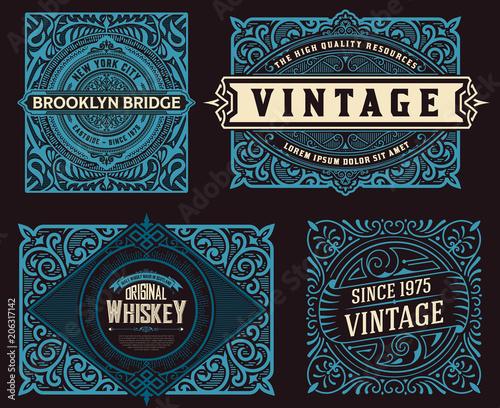 Obraz Set of 4 vintage labels for packing - fototapety do salonu