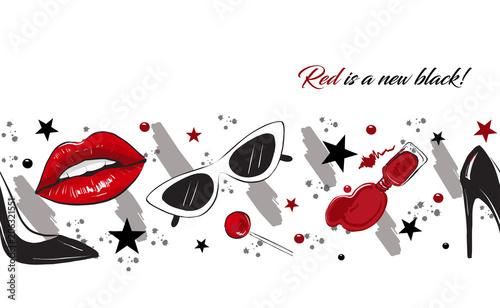 red lips fashion border Canvas-taulu