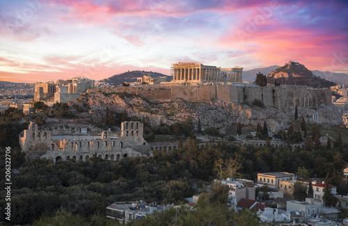 Plakat Akropol w Atenach o zachodzie słońca