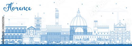 Fototapeta Outline Florence Italy City Skyline with Blue Buildings.