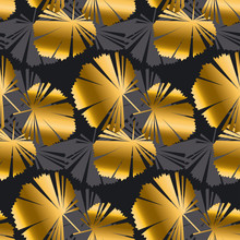 Abstract Gold And Black Leaves Tropical Seamless Pattern.