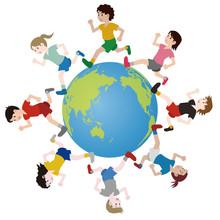 地球の周りを走る様々な人種の人々