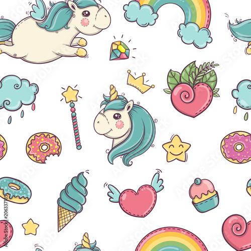 Stoffe zum Nähen Einhorn und Regenbogen Musterdesign isoliert auf weißem Hintergrund