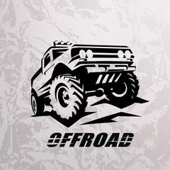 Fototapeta offroad suv car monochrome template for labels, emblems, badges or logos