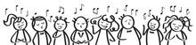 Chor, Gesangsgruppe, Männer Und Frauen Singen Gemeinsam, Banner, Lustige Strichfiguren Singen Ein Lied