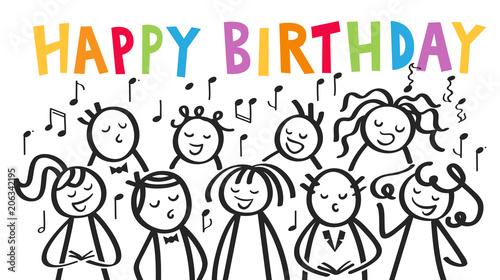 Fotografie, Obraz  Geburtstagskarte, Chor, Männer und Frauen singen gemeinsam HAPPY BIRTHDAY, Gebur