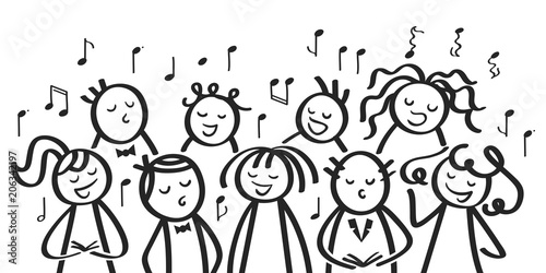 Fotografia Chor, Gesangsgruppe, Männer und Frauen singen gemeinsam, lustige Strichfiguren s