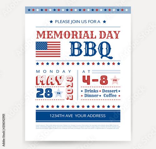 memorial day barbeque bbq flyer leaflet letter invitation design template vector