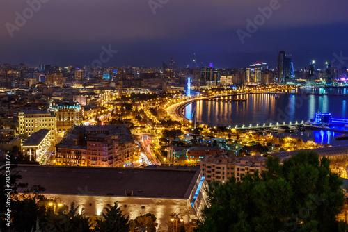 Photo Stands Las Vegas Night view of the city and Baku boulevard. Baku. Azerbaijan