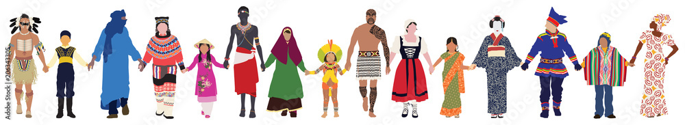 Fototapety, obrazy: Vector people of different ages, races and genders in their traditional clothing walk together peacefully hand in hand