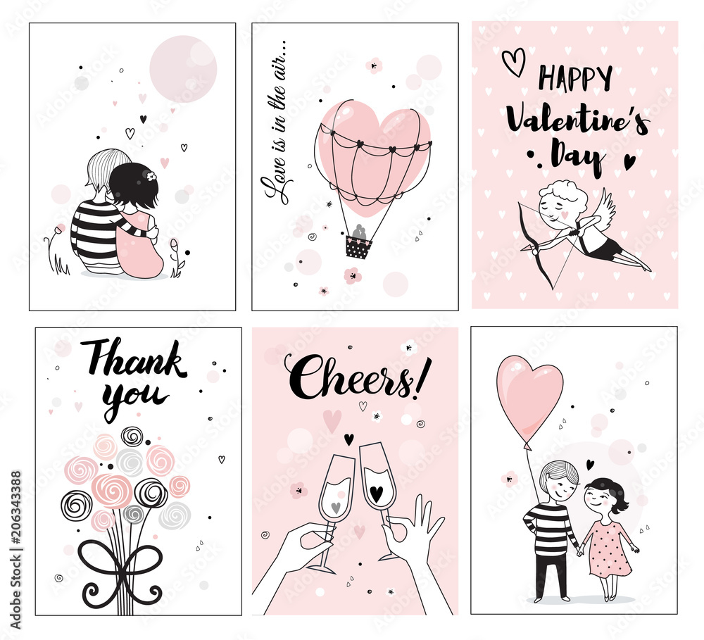 Fototapeta Cute romantic card set, vector illustration, perfect for posters and greeting cards, hand drawn illustration.