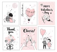 Cute Romantic Card Set, Vector...