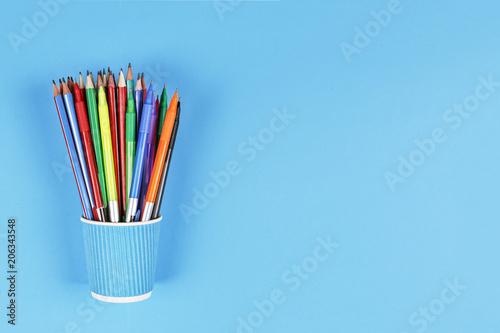 Fotografie, Obraz  concept school, MINIMALISM, Metal holder, pencils, Still life, copy space