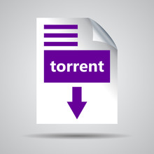 Flat Ultra Violet Torrent Format Download Icon On A Grey Backgro