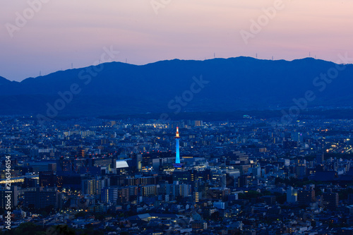 Aluminium Prints Blue Night view of Kyoto
