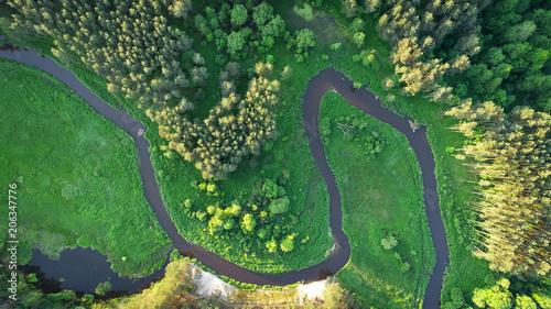 Fototapeta Aerial view of natural river in spring obraz