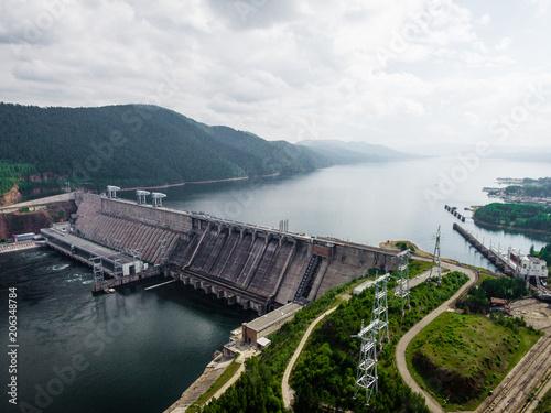 Fototapeta Krasnoyarsk dam and power plant on Enisey river from aerial view obraz