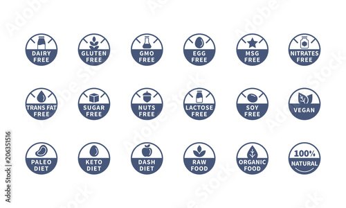 Photo Allergens, Ingredient labels symbols, Vector icons