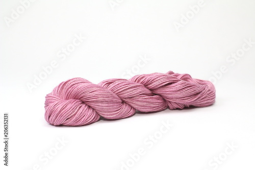 Photo Hank of pink yarn
